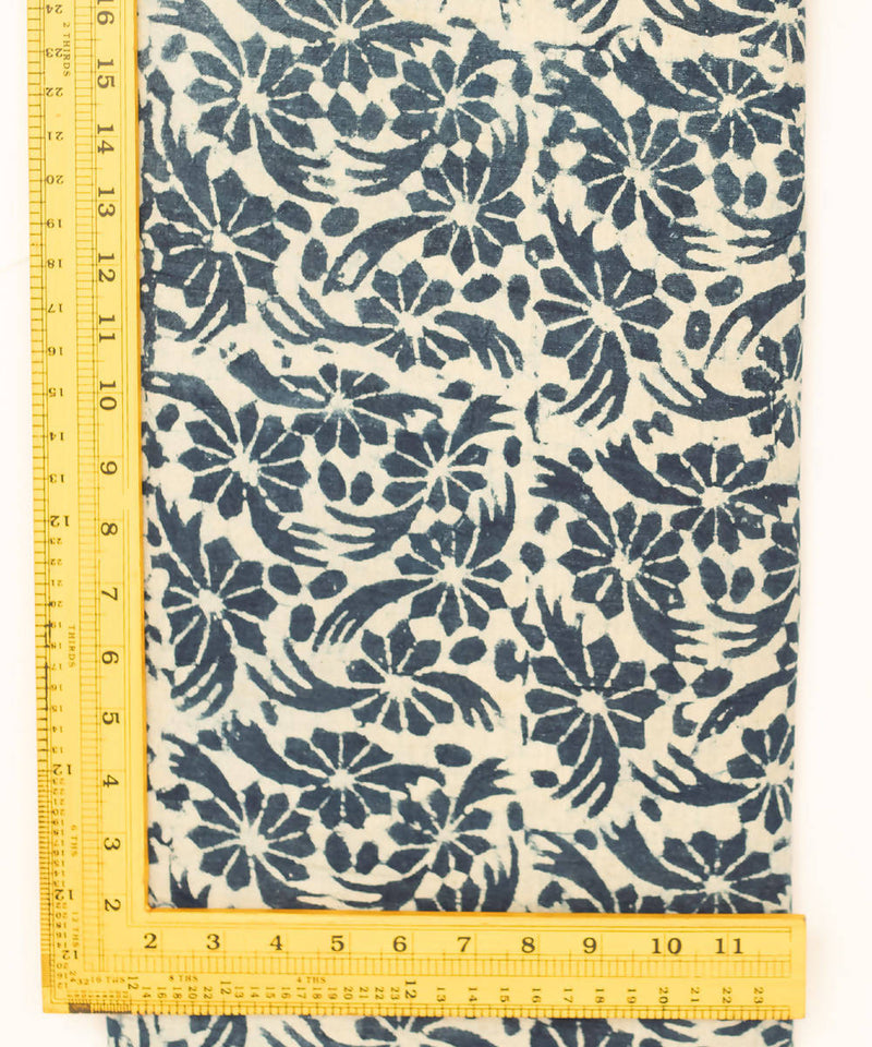 Dabu Hand Printed Cotton White Indigo Fabric