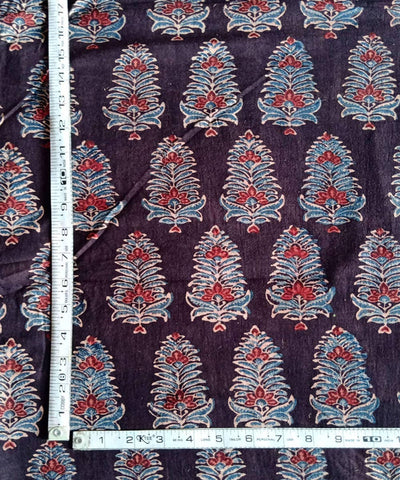 ajrakh dark coffee organic handspun cotton printed kurta fabric