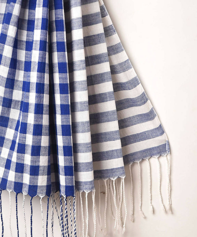 Blue white checks handwoven cotton stole