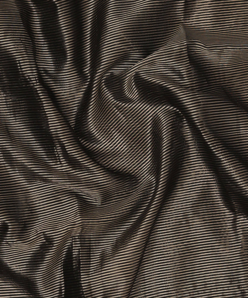 Black Gold Stripe Handloom Chanderi Fabric