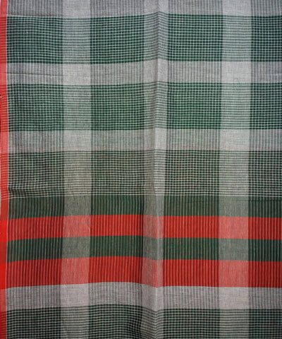 Bottle Green Handloom Malmal Cotton Saree