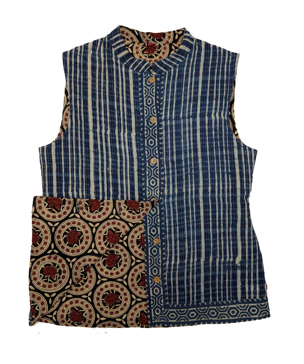 Blue brown and hand block printed cotton reversible jacket