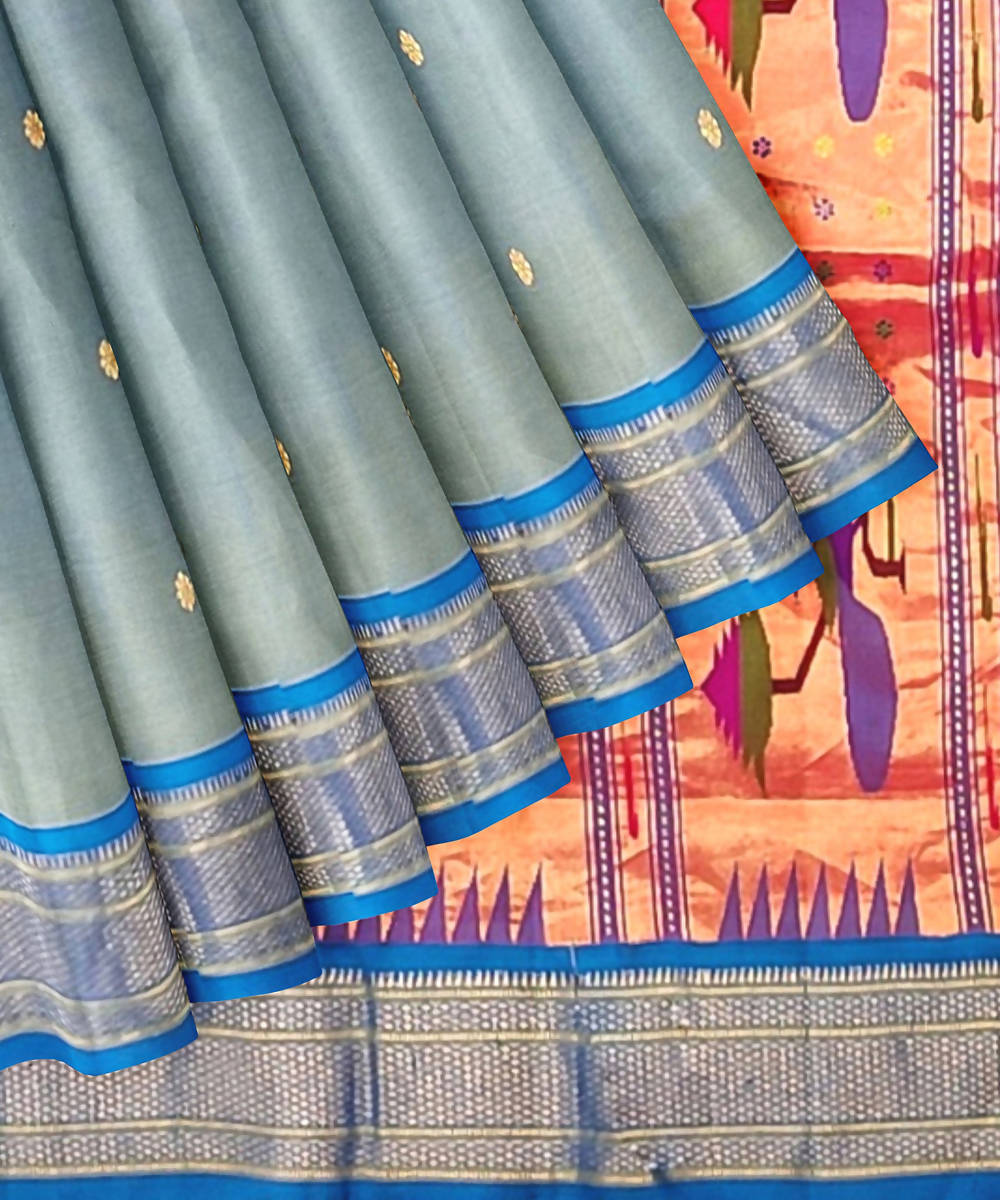 Pale Blue Handloom Paithani Silk Saree