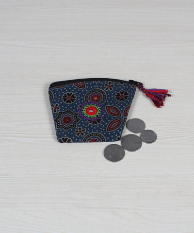 Lambani Embroidery Coin Pouch in Floral Grey