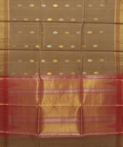 Coffee Brown Red Handwoven Kosa Silk Saree