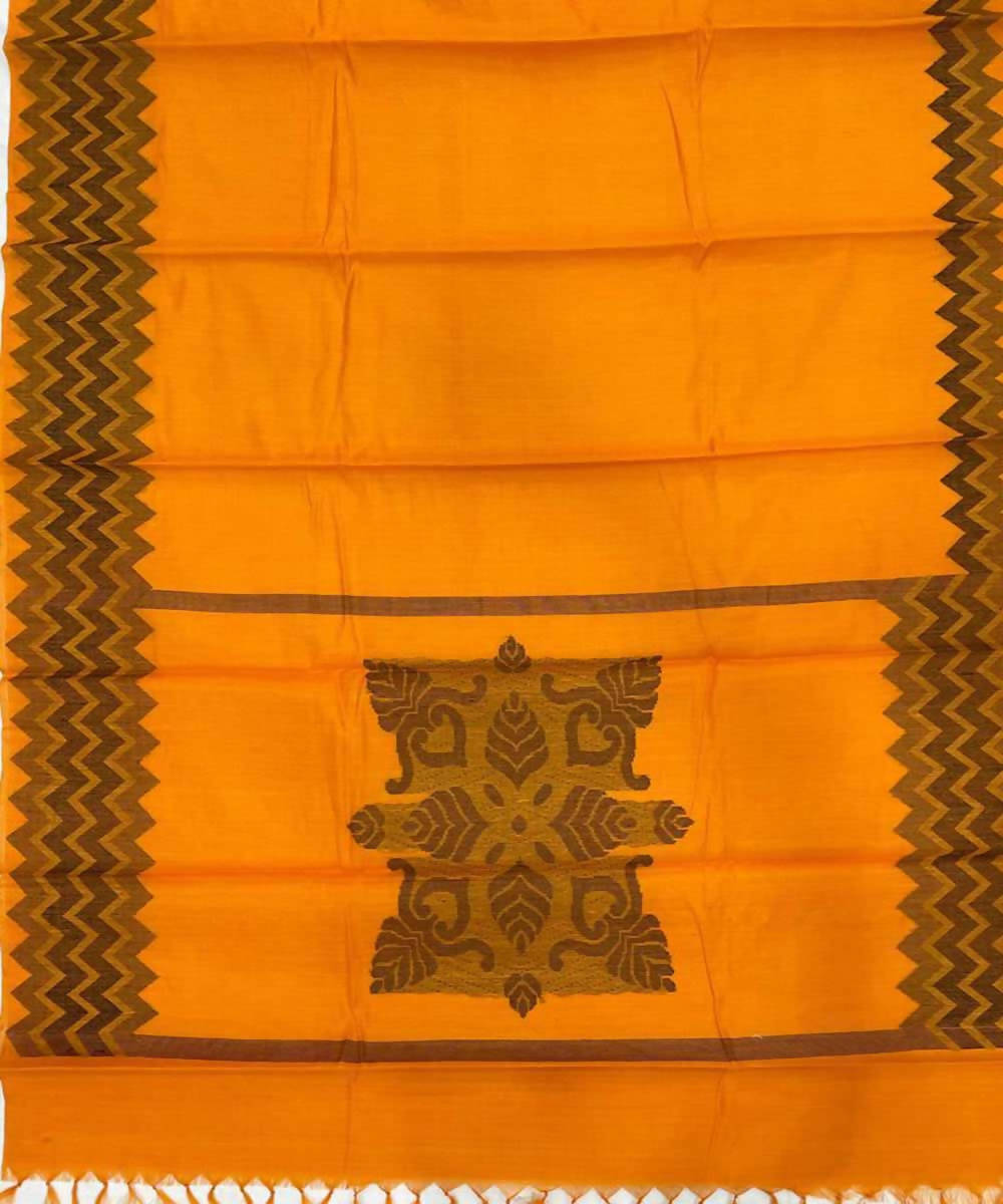 Orange handwoven zig zag tussar silk saree
