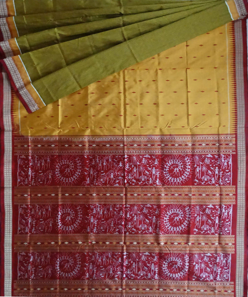 Saffron Brown Sonepur Handloom Silk Saree