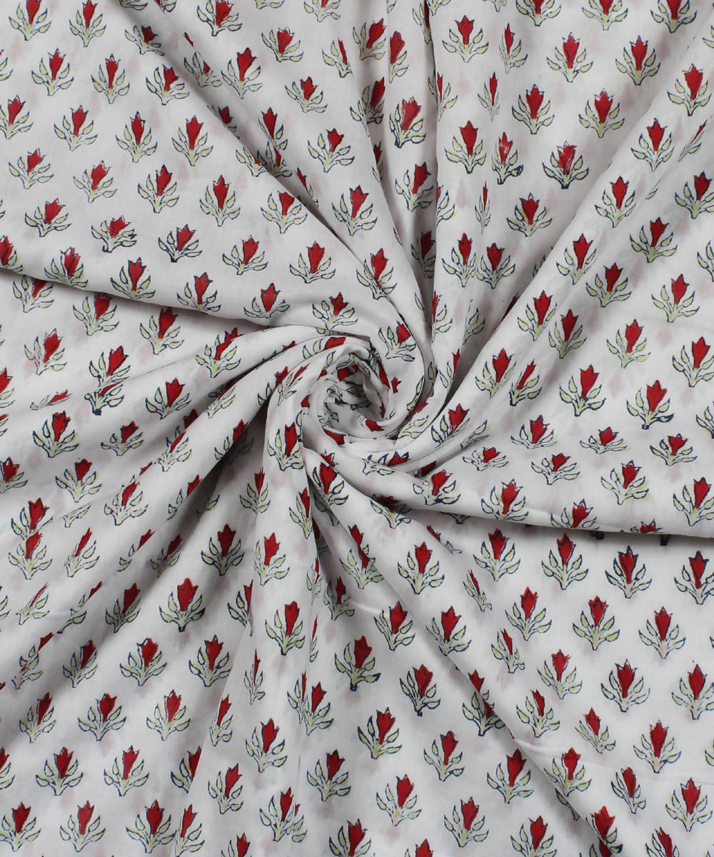 White Floral Handblock Print Cotton Fabric