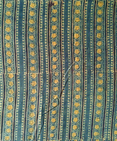 ajrakh handblock print yellow green handspun cotton kurta fabric