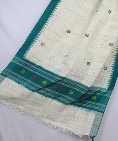 Off White Green Handloom Tussar Shawl