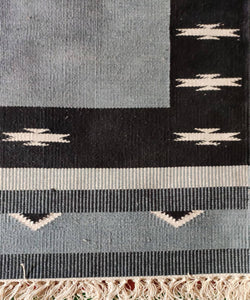 Black and Grey Handwoven Interlock Cotton Dhurrie