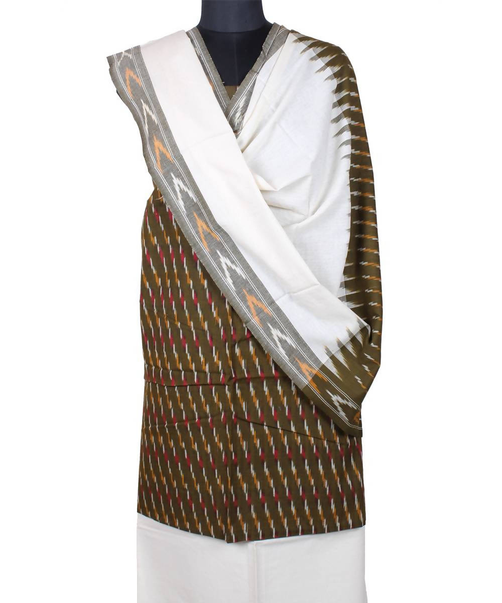 Handloom olive brown pochampally cotton suit
