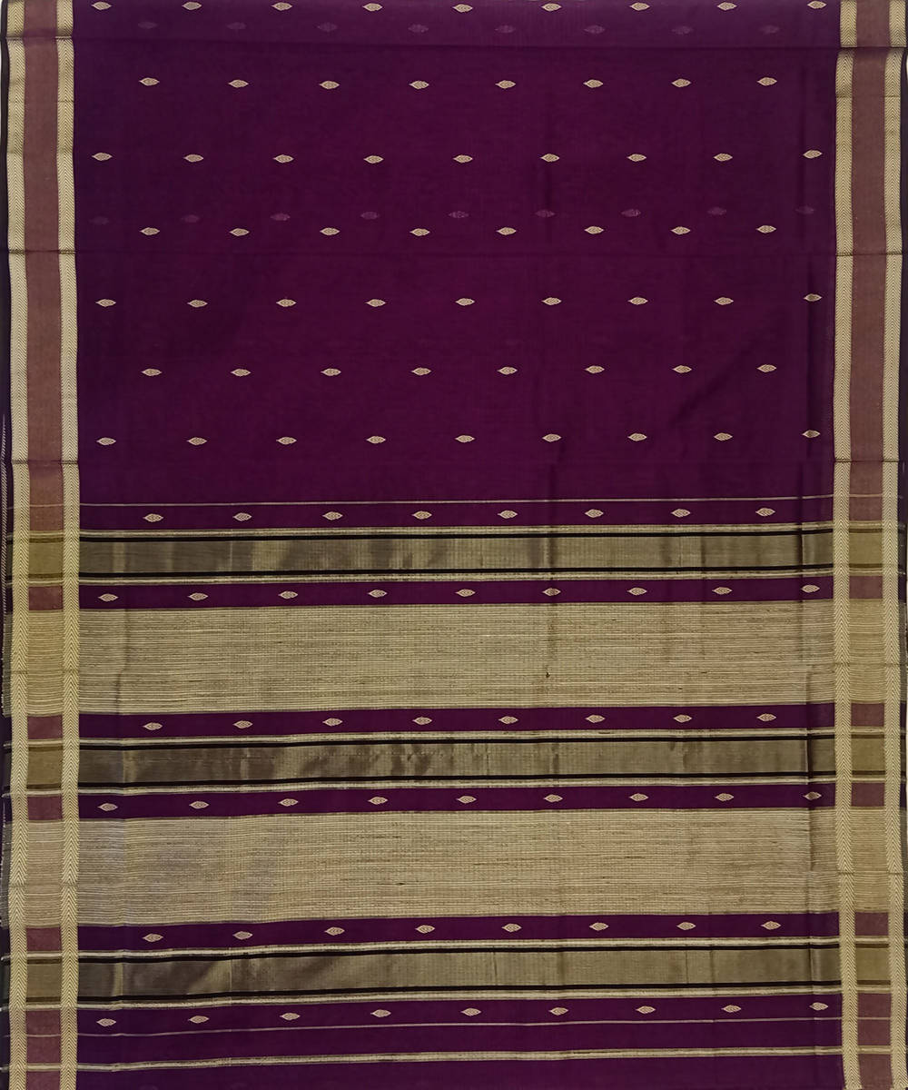 Maheshwari Handloom Wine Purple Cotton Silk Saree
