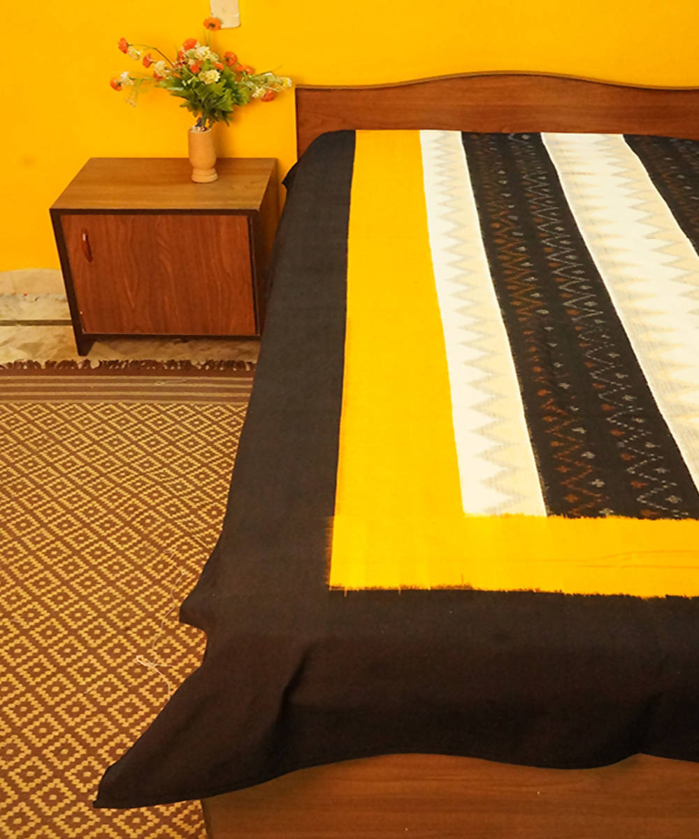 Black and Mustard Handwoven Ikat Bedsheet