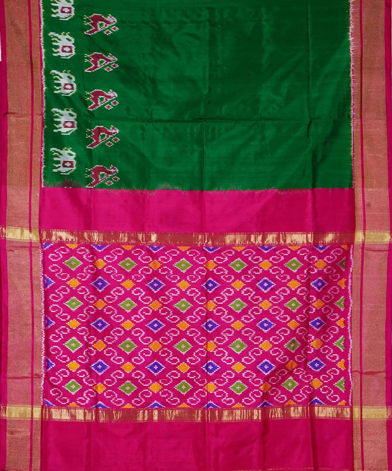 Dark Green Handloom Pochampally Silk Saree