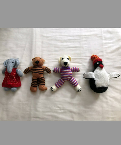 Hand Knitted Woollen Stuffed Animal Toys Set of 4