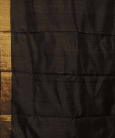 Handwoven Beige Black Ghicha Silk Saree