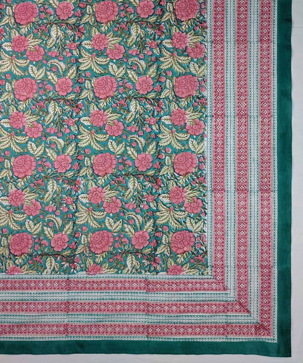 Dhalia flower hand block print bed sheet