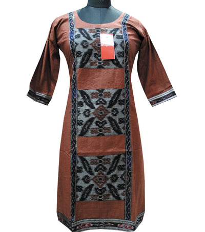 Exclusive Traditional Chocolate And Black Ikat tie And dye Cotton Designer Ladies Kurti