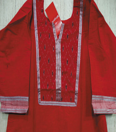 Exclusive Traditional Bright Red And Red Ikat tie And dye Cotton Designer Ladies Kurti