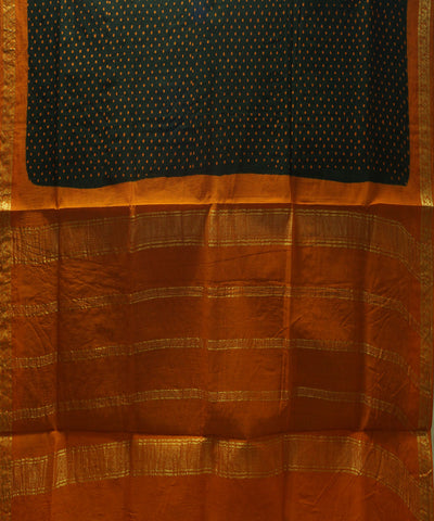 Sungudi Dark Green Printed Cotton Saree