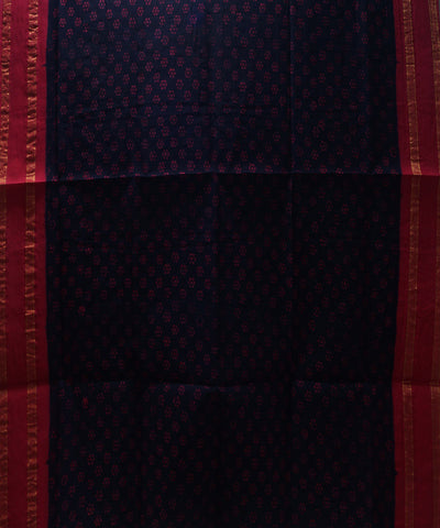 Loom World Sungudi Blue and Pink Printed Cotton Saree