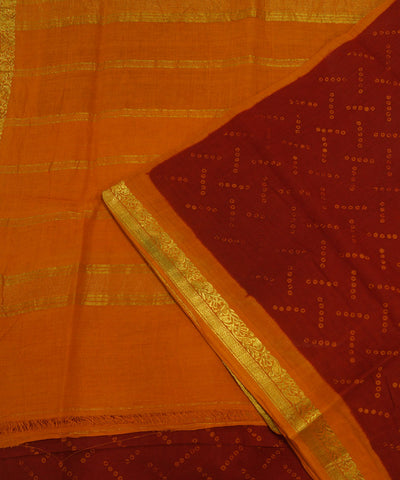 Loom World Sungudi Red and Orange Printed Cotton Saree