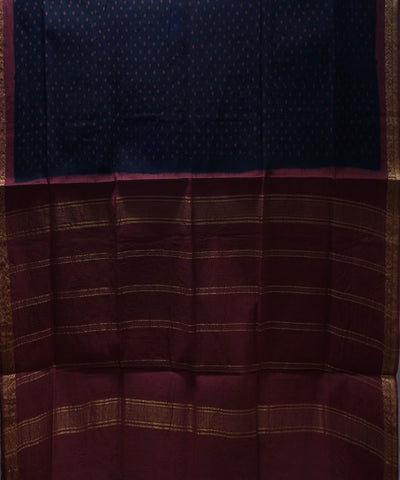 Sungudi Blue Red Printed Cotton Saree