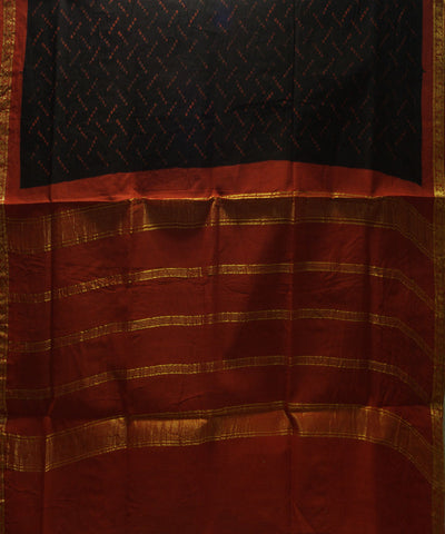 Sungudi Black Red Printed Cotton Saree