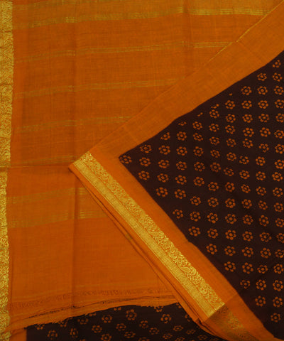 Loom World Sungudi Brown and Orange Printed Cotton Saree