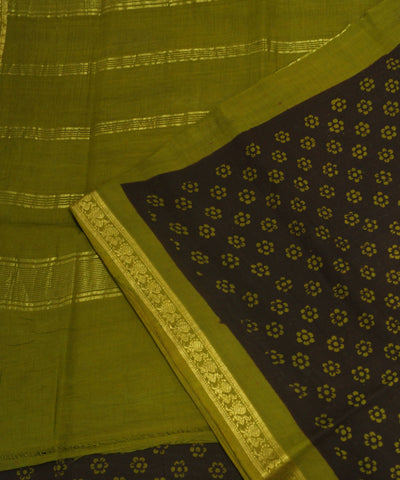 Loom World Sungudi Brown and Green Printed Cotton Saree
