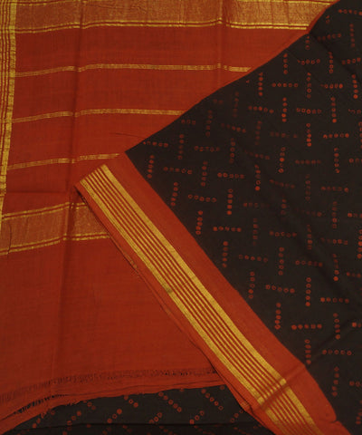 Sungudi Brown Red Printed Cotton Saree