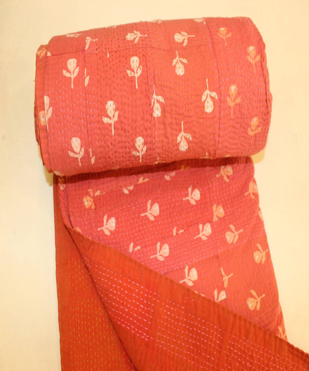 Red orange printed patchwork tanka cotton single bed quilt