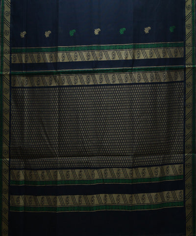 Blue Floral Handloom Paramakudi Cotton Saree