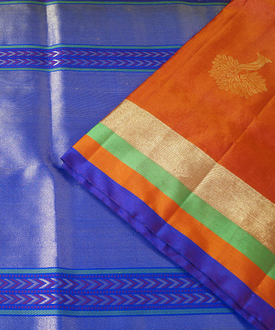 Brown Blue Handloom Soft Silk Saree