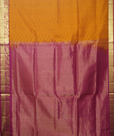 Mustard Yellow Pink Handloom Soft Silk Saree