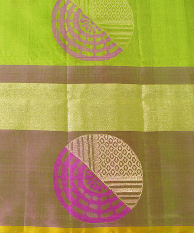 Parrot Green Pink Handloom Soft Silk Saree