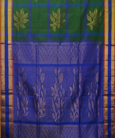 Dark Green Blue Handloom Soft Silk Saree