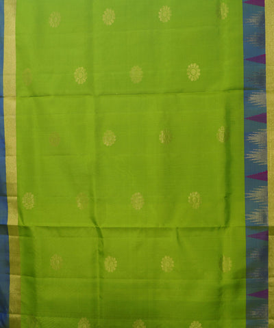 Kovil Green Blue Handloom Soft Silk Saree