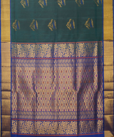 Green Purple Handloom Soft Silk Saree
