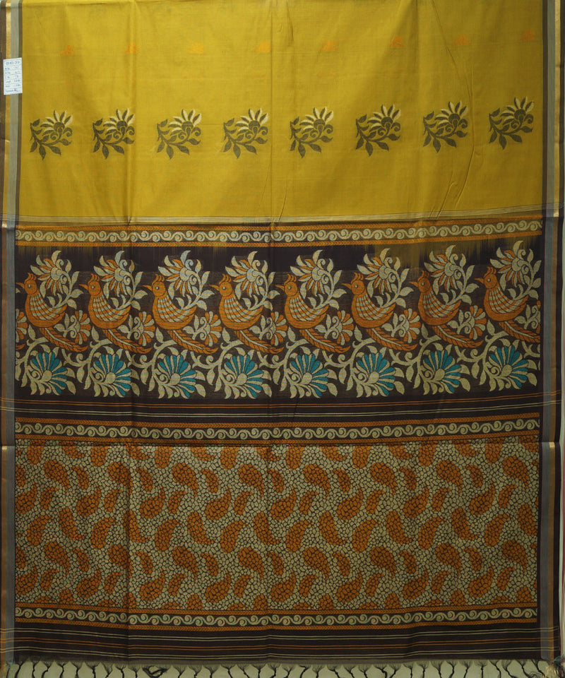 Loomworld Handwoven Earls Green And Brown Vadambacherry Cotton Saree