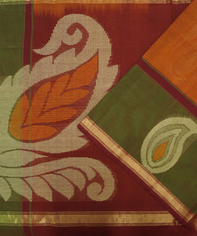 Loomworld Handwoven Rust And Green Vadambacherry Cotton Saree