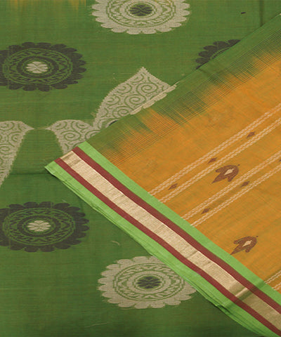Loomworld Handwoven Ochre And Green Vadambacherry Cotton Saree