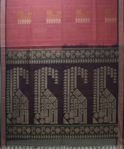 Loomworld Handwoven Pink And Purple Vadambacherry Cotton Saree