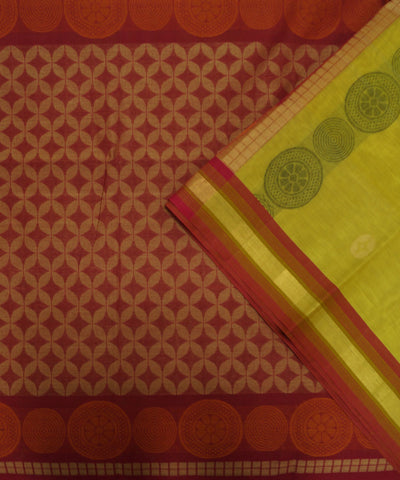 Loomworld Handwoven Yellow And Red Vadambacherry Cotton Saree