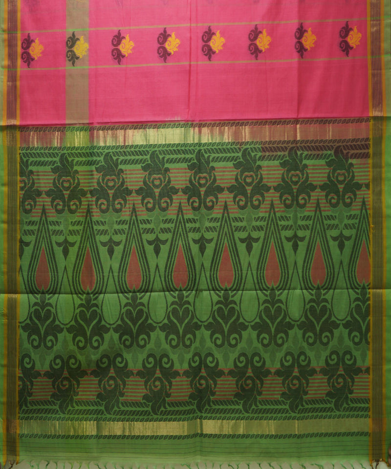 Loomworld Handwoven Pink And Green Vadambacherry Cotton Saree