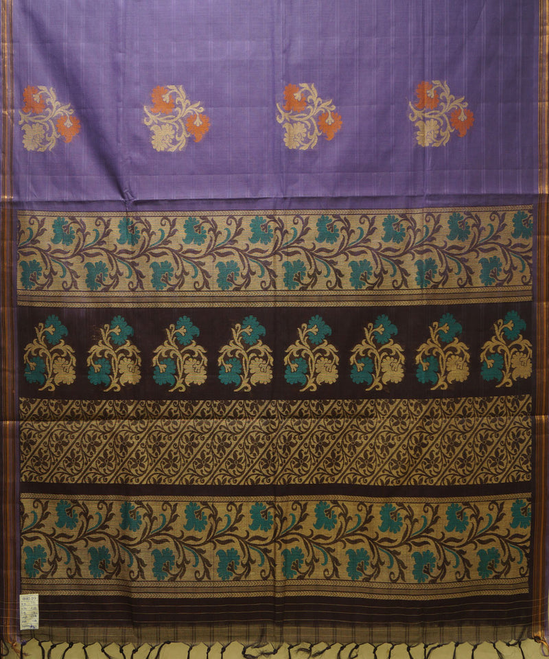 Loomworld Handwoven Violet And Brown Vadambacherry Cotton Saree