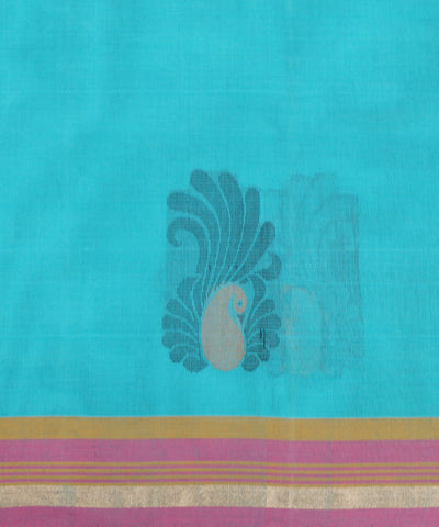 Handloom Cyan Blue Vadambacherry Saree