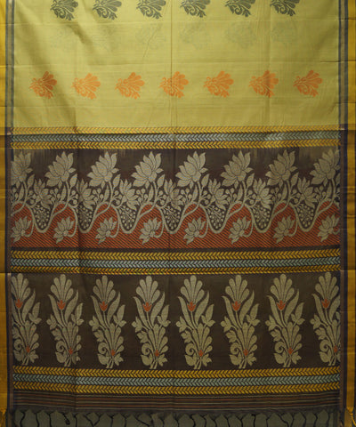 Loomworld Handwoven Khaki And Brown Vadambacherry Cotton Saree