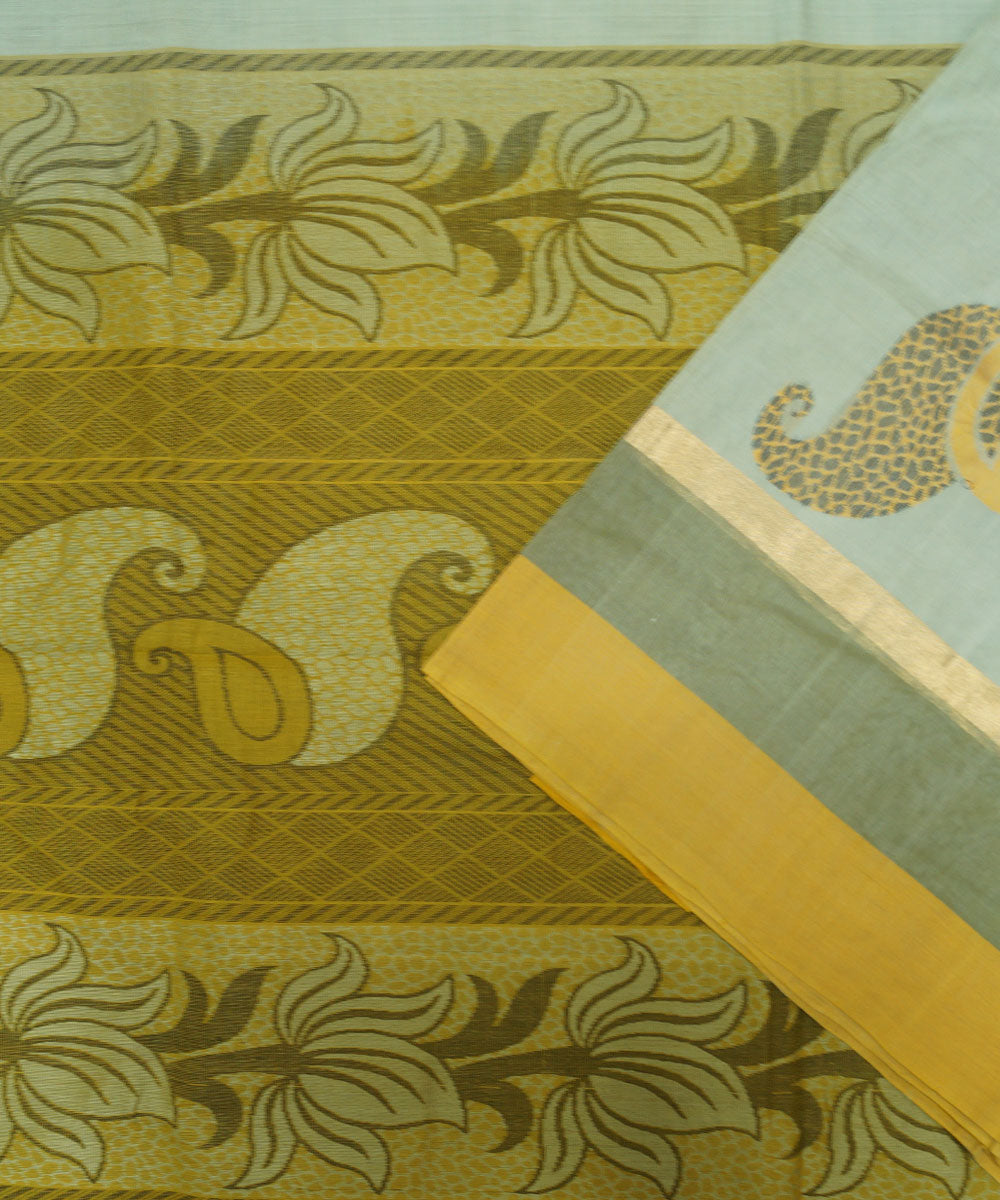 Loomworld Handwoven Silver And Gold Vadambacherry Cotton Saree
